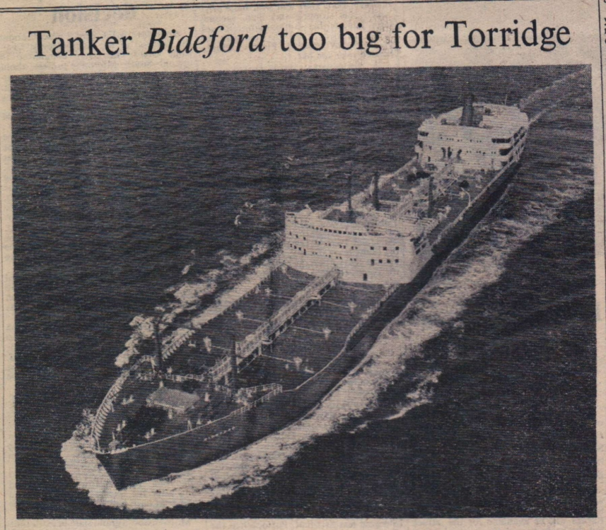 1959 Bideford tanker too big