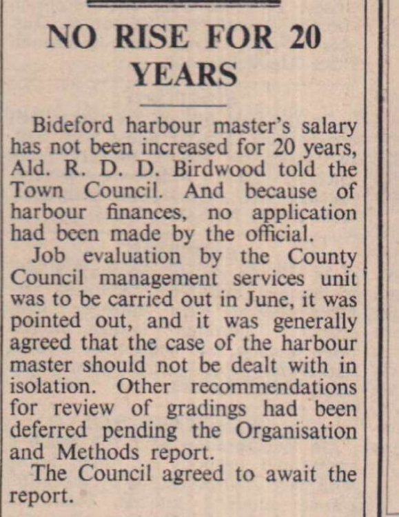 2 April 1971 Harbour Master salary