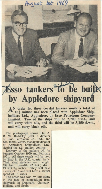 Esso tankers to be built by Appledore shipyard