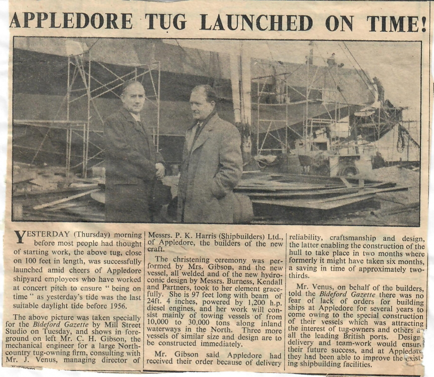 appledore tug launched on time