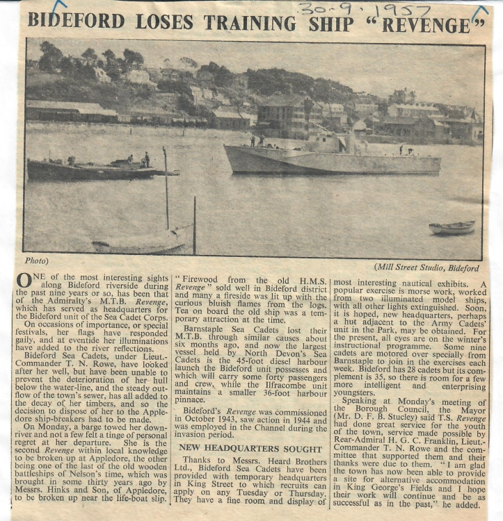 bideford loses training ship revenge