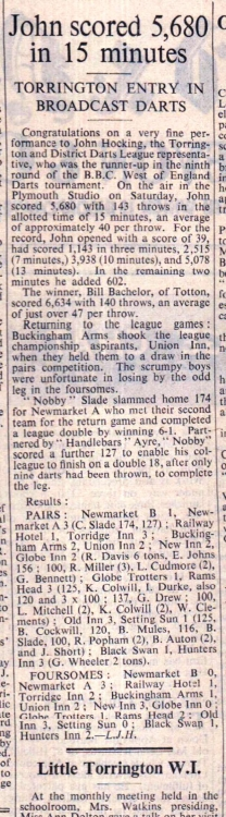 1.3.1957 Torrington darts