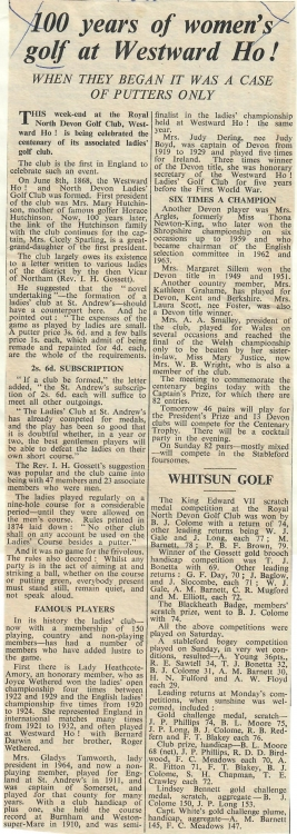 100 Years of Womens Golf at Westward Ho 07.06.1968