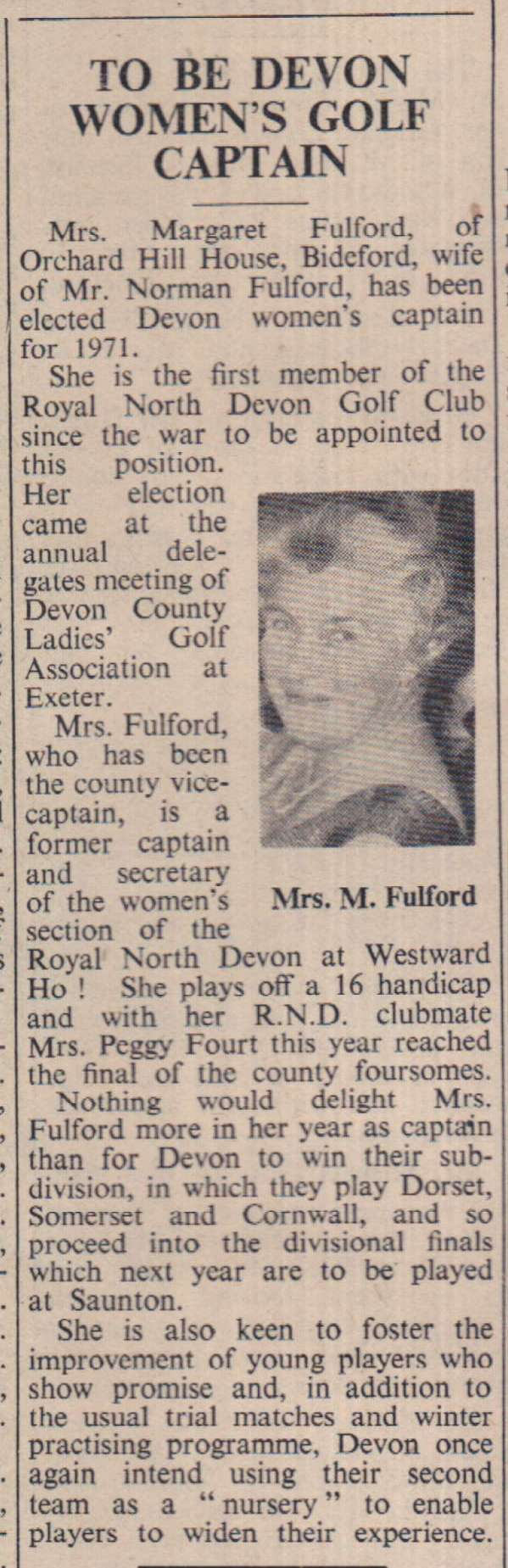 13.11.1970 Margaret Fulford golf