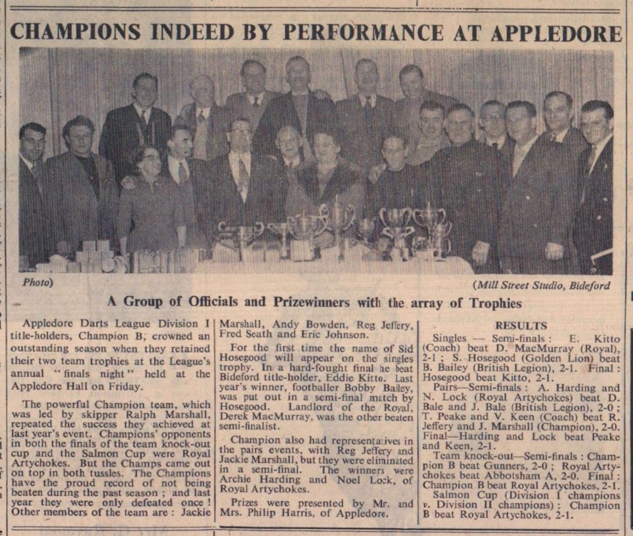 18.4.1958 Appledore darts