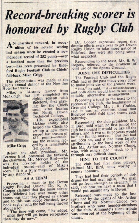 1965 Rugby Club Mike Grigg