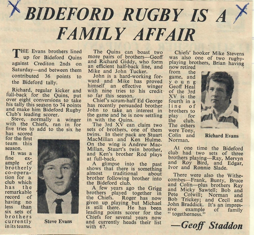Bideford Rugby is a Family Affair 8.12.1972