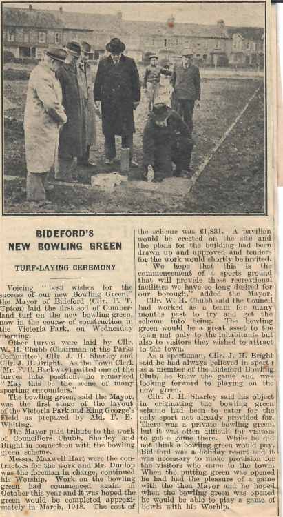 Bidefords New Bowling Green 9.12.1947