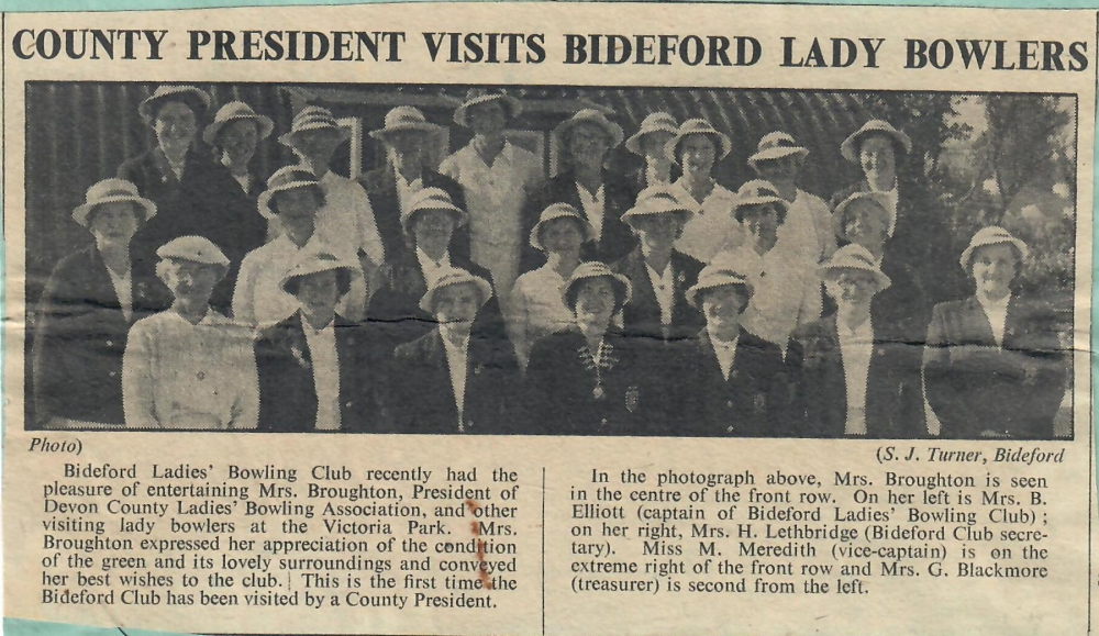 County President Visits Bideford Lady Bowlers 4.9.1953