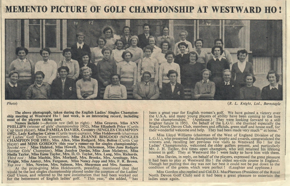 Memento Picture of Golf Championship at Westward Ho 10.10.1952