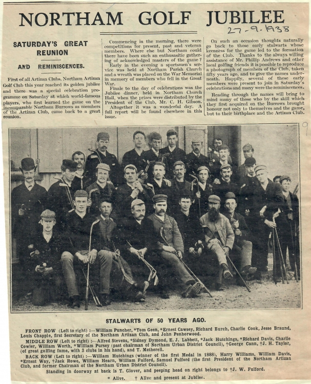 Northam Golf Jubilee 27.9.1938