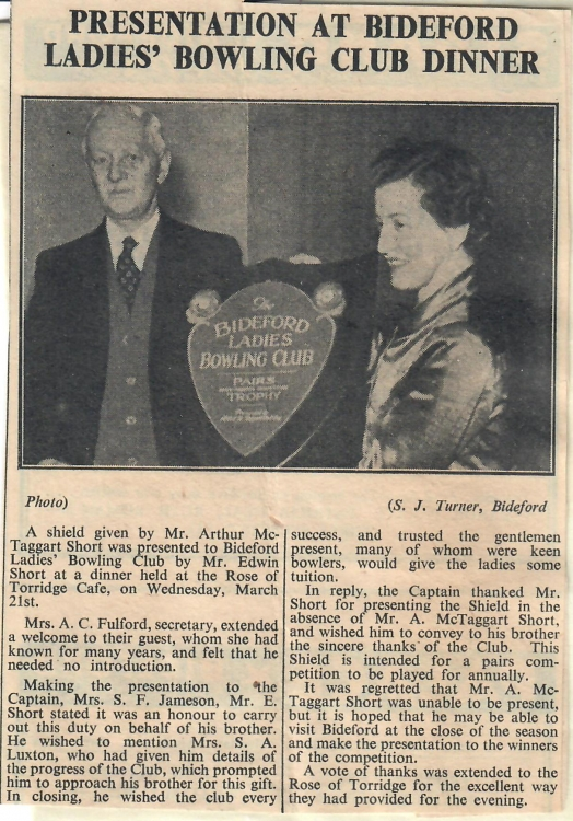 Presentation at Bideford Ladies Bowling Club Dinner 30.3.1951