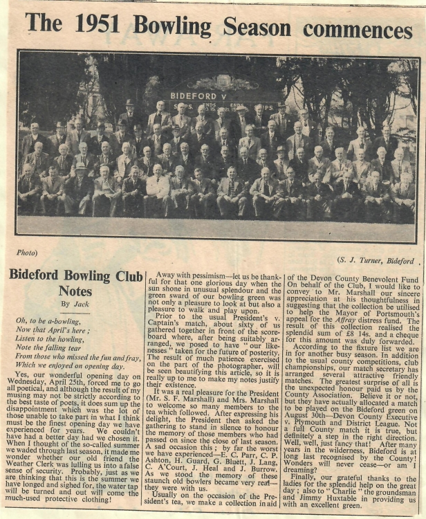 The 1951 Bowling Season commences 4.5.1951