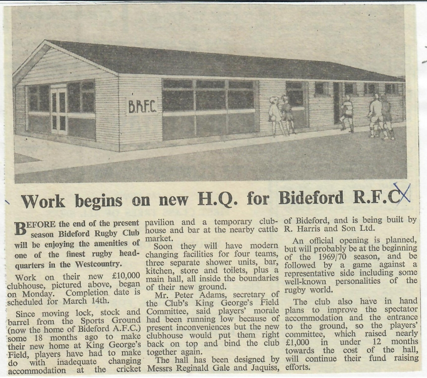 Work Begins on new H.Q. for Bideford R.F.C. 6.12.1968