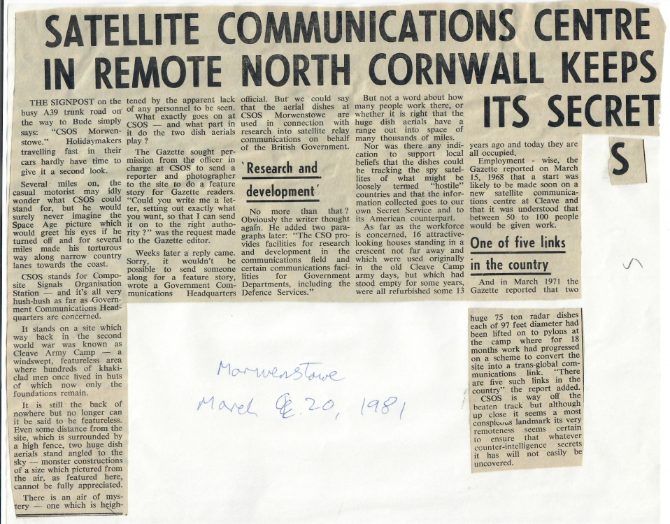 Satellite Communications Centre in Remote North Cornwall Keeps Its Secret