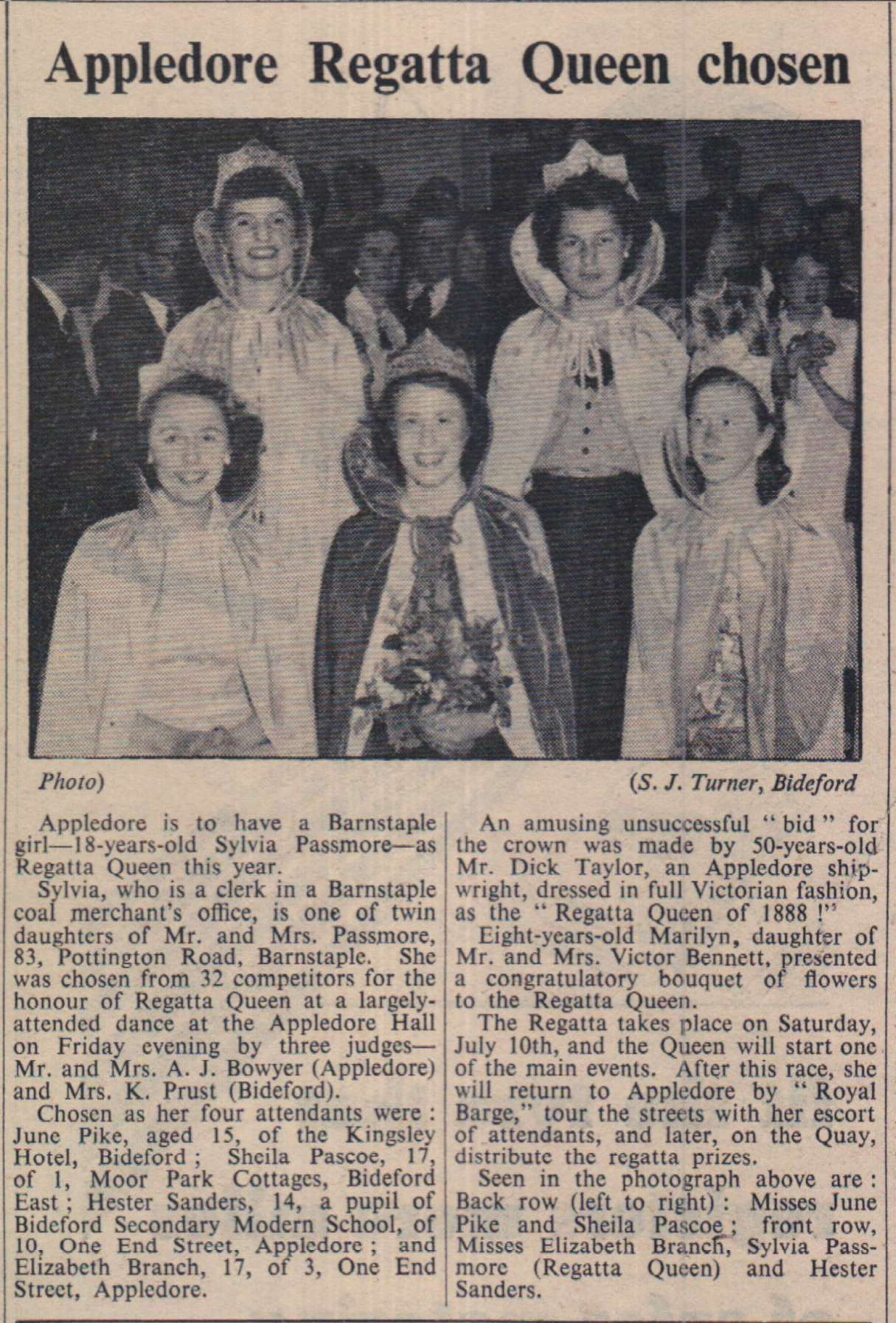 11.6.1954 Appledore Regatta Queen