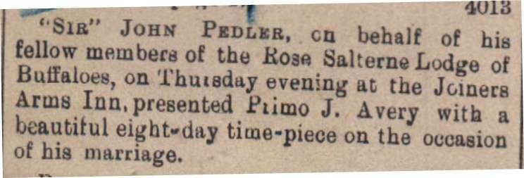 1903 Primo Avery gets wedding gift