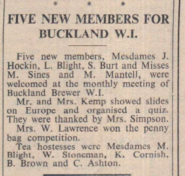3.3.1967 Buckland Brewer WI