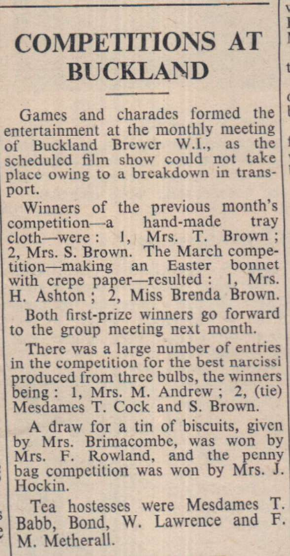 31.3.1967 Buckland Brewer competitions
