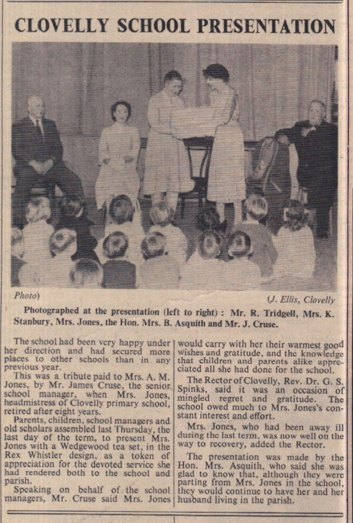 1.8.1958 Clovelly school presentation