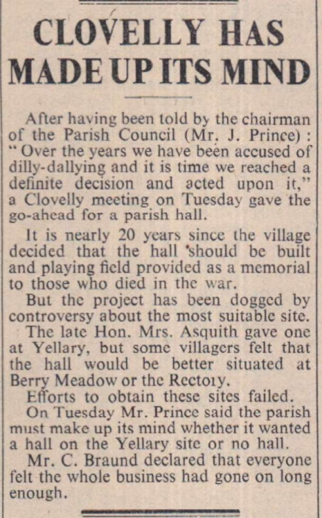 10.5.1963 Clovelly Parish hall