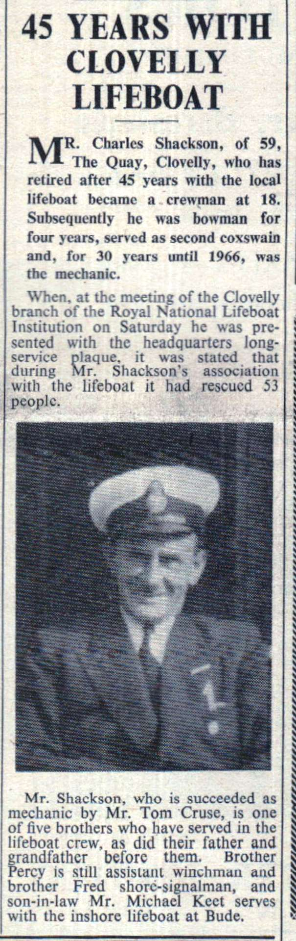 1967 Mr Charles Shackson retires from Clovelly Lifeboat