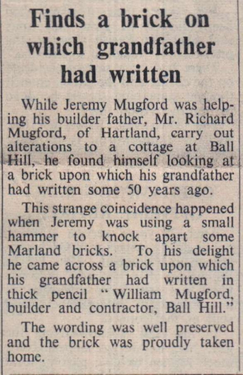 Builder finds grandfather'sbrick 50 years on 1972