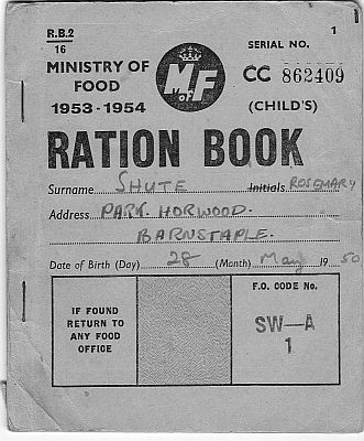 Rosemary Shute ration book