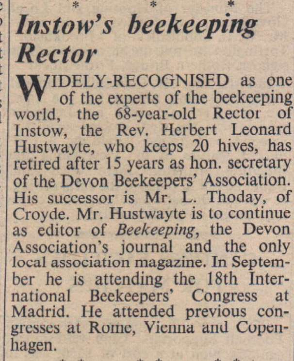 7.4.1961 Instow bee keeper