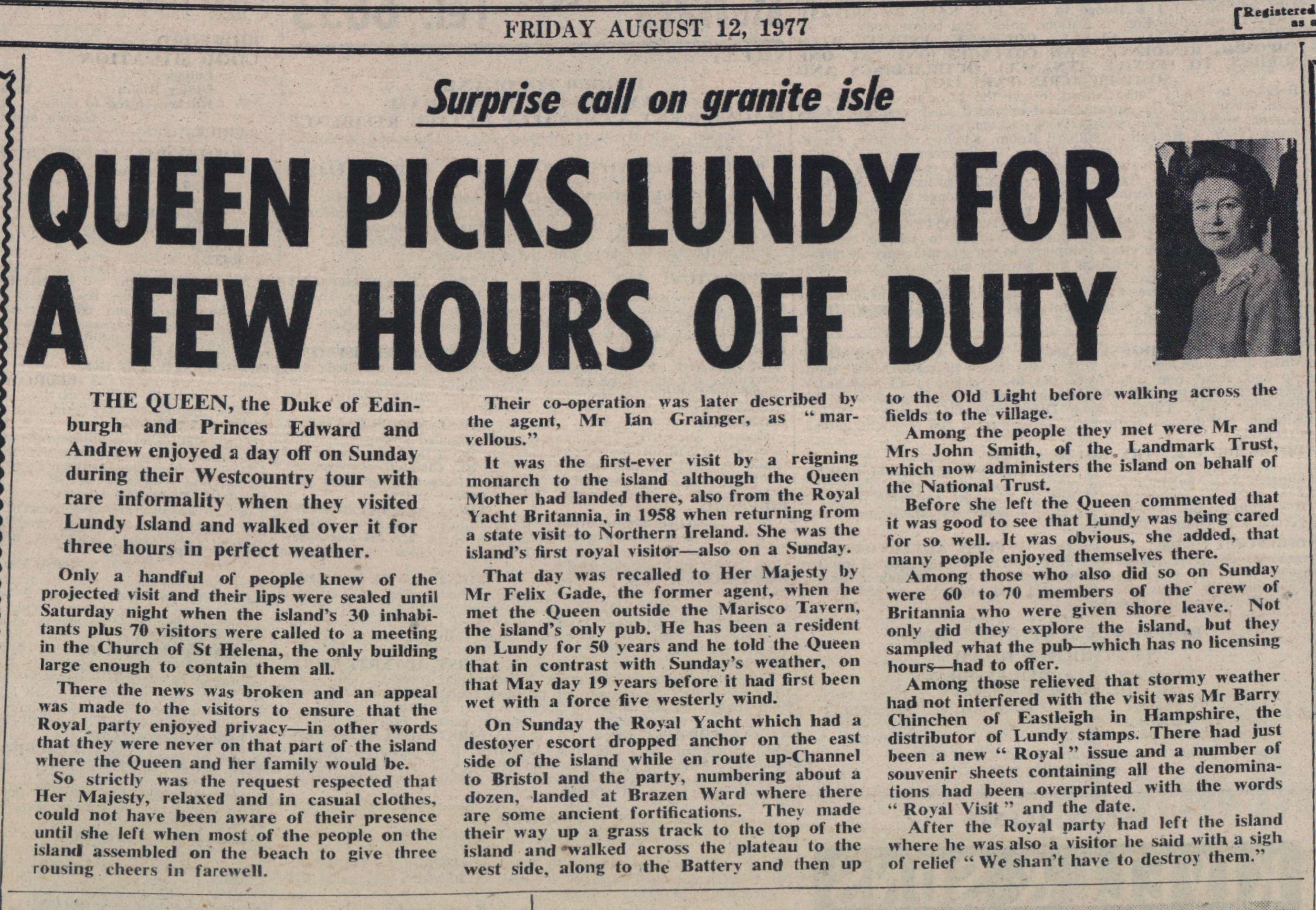 12.8.1977 Lundy Queen