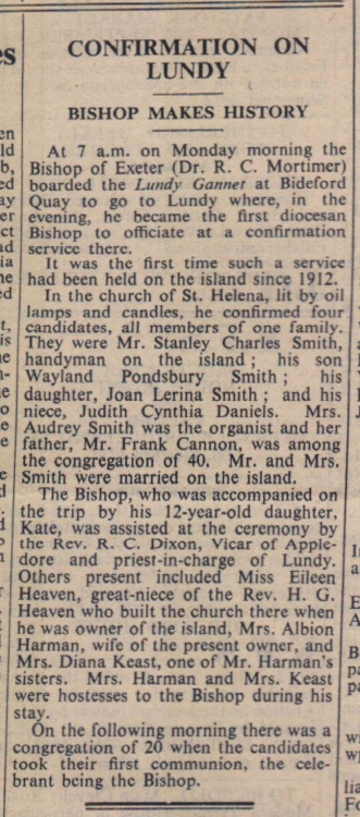 19.9.1958 Lundy confirmation