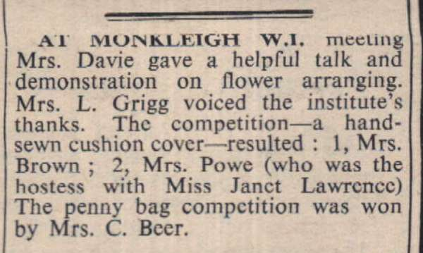 14.4.1967 Monkleigh WI