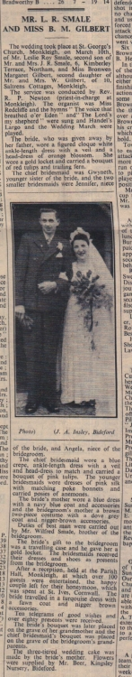 30.3.1951 Monkleigh Smale Gilbert wedding
