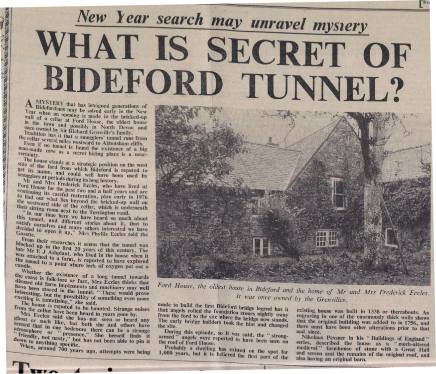 What is secret of Bideford tunnel - Ford House