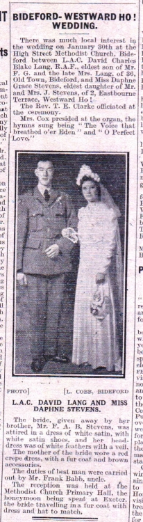 Marriage of Blake and Stevens 1945