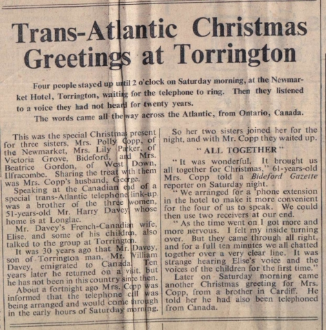 1959 Transatlantic call for Davey family