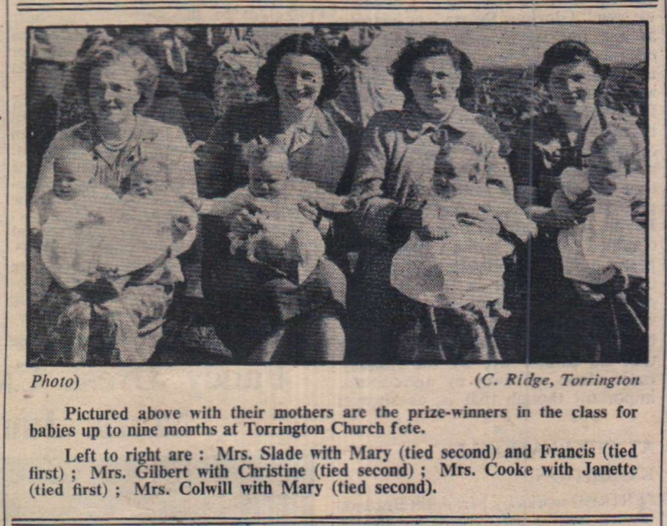 Torrington Church Fete - best babies 1954