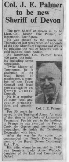 1964 - J E Palmer  - Sheriff of Devon