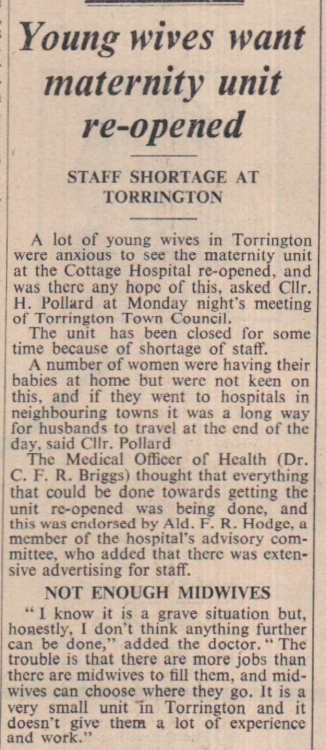 5.6.1964 Torrington maternity unit