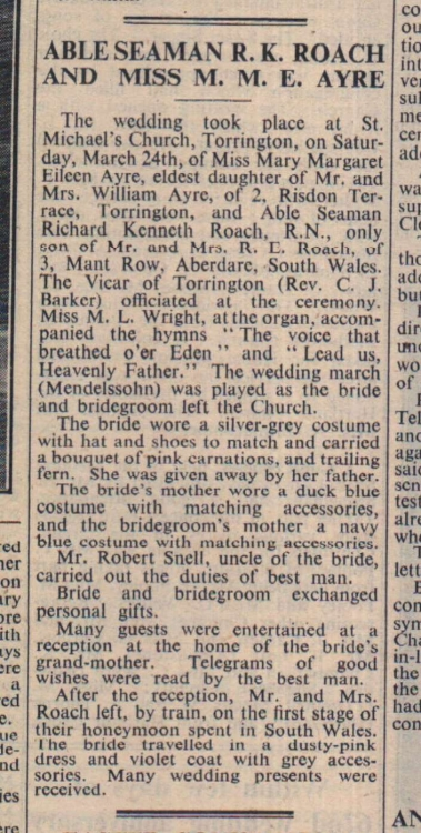 6.4.1951 Torrington Roach Ayre wedding