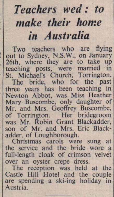 Torrington teacher and new husband emigrate to Sydney to start new jobs 1972