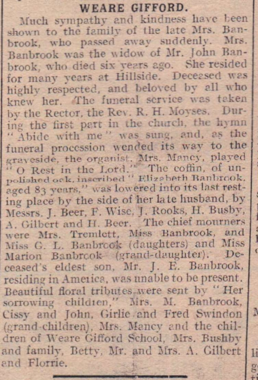 8.5.1923 Mrs Banbrook funeral Weare Gifford