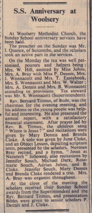 23.5.1958 Woolsery Sunday School